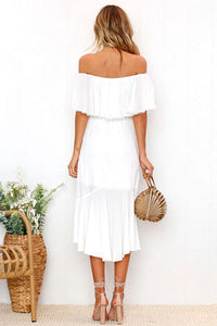 Off Shoulder  Flounce  Plain  Short Sleeve Maxi Dresses