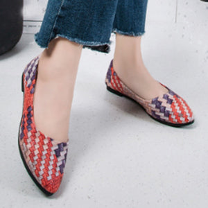 Color Block  Flat  Point Toe  Casual Outdoor Comfort Flats