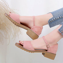 Plain  Low Heeled  Velvet  Ankle Strap  Peep Toe  Office Outdoor Flat Sandals
