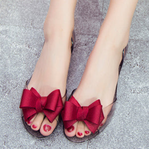 Color Block  Flat  Sheer Fabric  Round Toe  Casual Date Flat Sandals