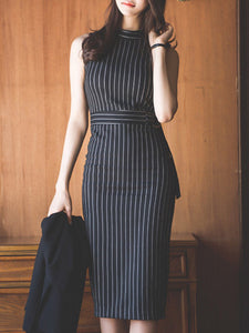Open Shoulder  Vertical Striped Bodycon Dress