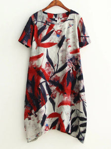 Round Neck  Print Shift Dress