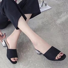 Plain  Chunky  High Heeled  Velvet  Peep Toe  Date Outdoor Sandals