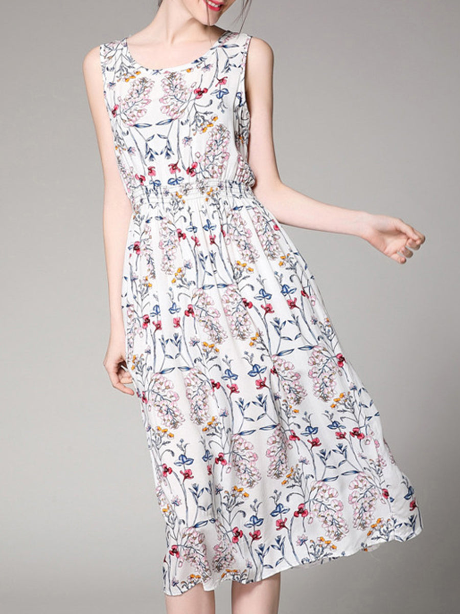 Round Neck  Elastic Waist  Printed Skater Dress