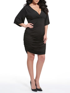 Deep V-Neck  Ruched  Plain Plus Size Bodycon Dress