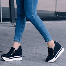 Plain  High Heeled  Elastic  Round Toe  Casual Sport Sneakers