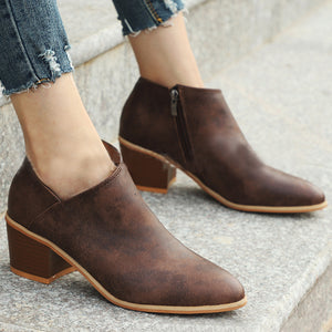 Plain  High Heeled  Round Toe  Outdoor Ankle Boots