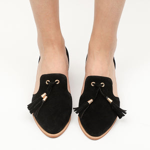 Plain  Chunky  Low Heeled  Velvet  Point Toe Tassel Thick Heel Flat & Loafers