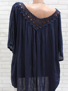 Spring Summer  Cotton  Women  V-Neck  Decorative Lace  Hollow Out  Half Sleeve Blouses