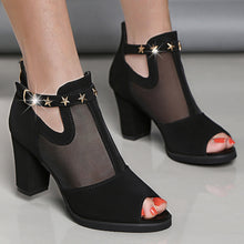 Plain  Chunky  High Heeled  Mesh Velvet  Ankle Strap  Peep Toe  Date Outdoor Peep-Toe Heels