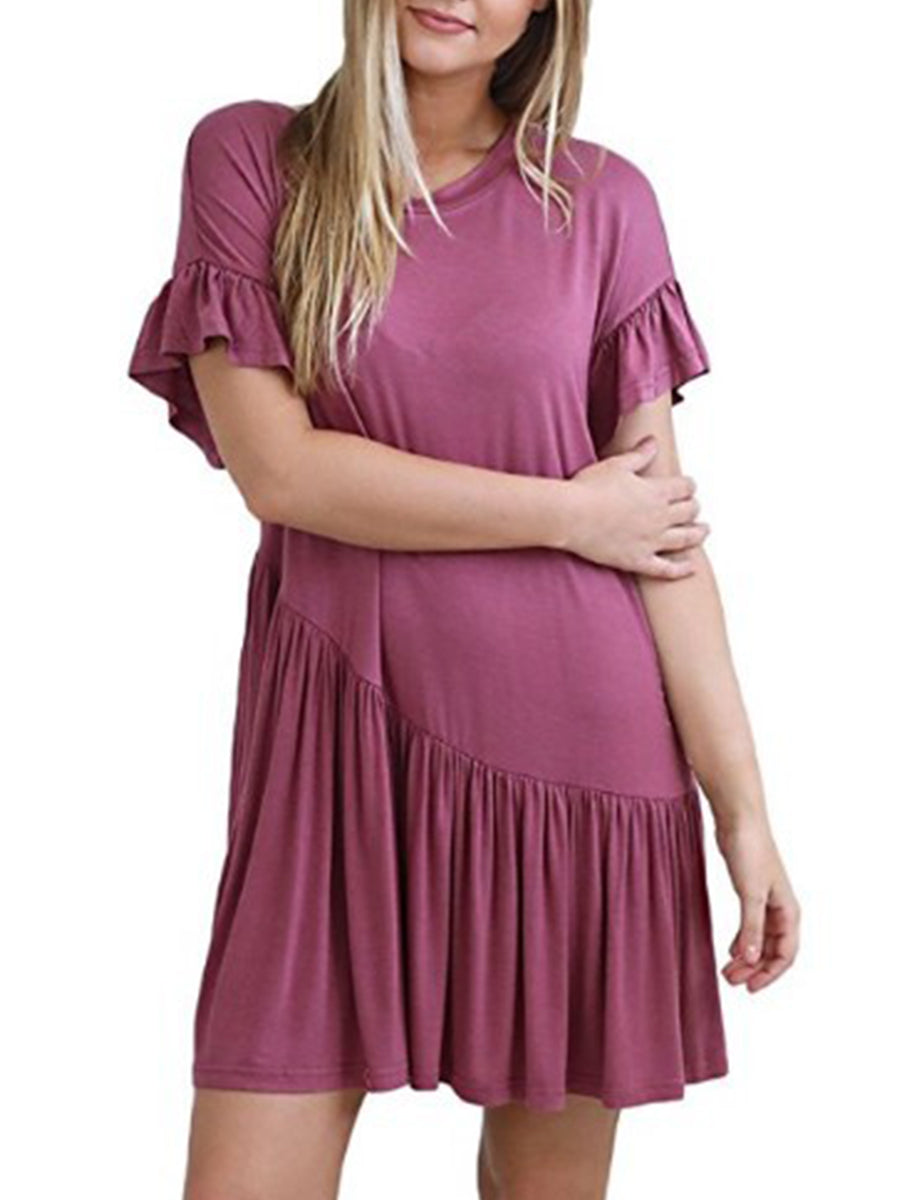 Round Neck  Flounce  Plain  Bell Sleeve Shift Dress