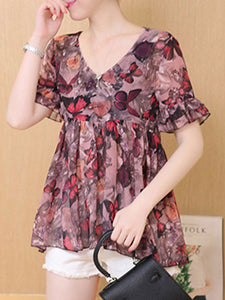 7c167827009434 Summer Polyester Women V-Neck Animal Printed Floral Butterfly Printed Bell Sleeve  Short Sleeve Blouses