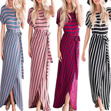 More Colors Stripe Fashion Woman Round Neck Maxi Dress