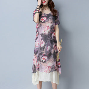 Summer Cotton & Linen Printed Flory Short Sleeve Maxi Dress
