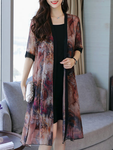 Round Neck  Floral Printed Two-Piece Maxi Dress