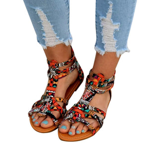 Floral  Flat  Ankle Strap  Peep Toe  Casual Gladiator Sandals