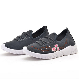 Embroidery Floral  Flat  Round Toe  Casual Sport Sneakers