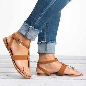 Plain  Flat  Ankle Strap  Peep Toe  Casual Gladiator Sandals