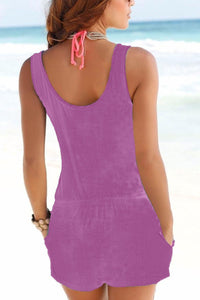 Spaghetti Strap  Backless  Belt  Plain  Sleeveless  Playsuits