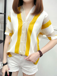 Spring Summer  Polyester  Women  V-Neck  Single Breasted  Striped  Short Sleeve Blouses
