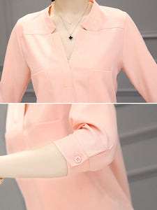 Spring Summer  Polyester  Women  V-Neck  Patch Pocket  Plain  Three-Quarter Sleeve Blouses