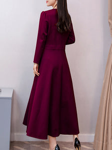V Neck  Patch Pocket  Plain Maxi Dress