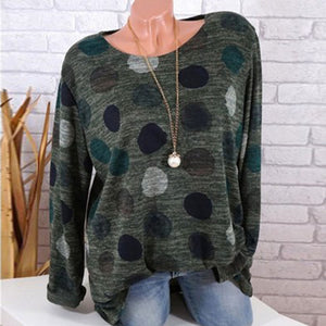 Round Neck Long Sleeve Printed Pot Woman T-Shirts