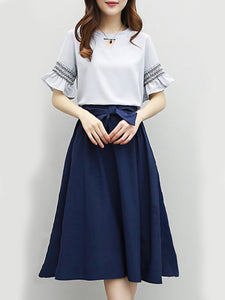 Round Neck  Bowknot  Color Block  Bell Sleeve Two-Piece Maxi Dress