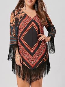 V-Neck  Fringe  Geometric Plus Size Bodycon Dress