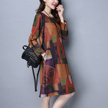 Cotton Round Neck Long Sleeve Large Size Woman Shift Dresses
