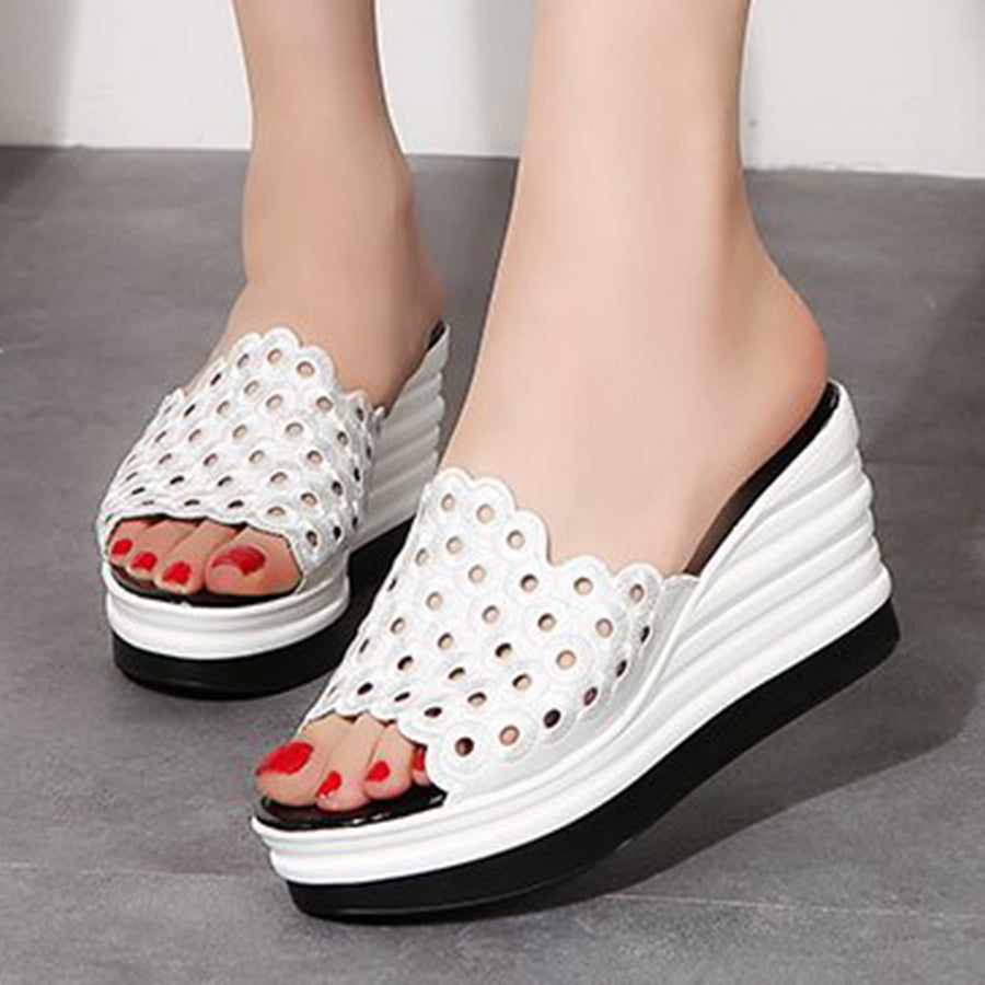 Embroidery Hollow Out  High Heeled  Peep Toe  Date Wedge Sandals