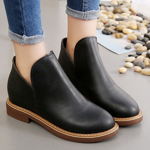 Plain  Flat  Round Toe  Outdoor Ankle Boots
