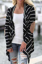 Snap Front  Striped  Casual Cardigans