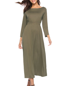 Boat Neck  Batwing Elastic Waist  Plain Maxi Dress