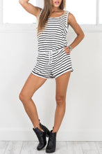 Fashion Stripe Sleeveless Rompers Playsuit