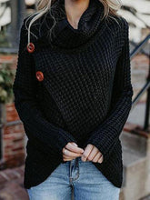Asymmetric Neck  Asymmetric Hem Plain Sweaters