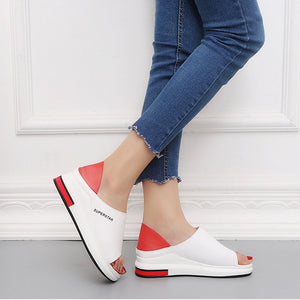 Two Wear Women Thick-Soled Versatile Sponge Cake Fish Mouth  Flat-Bottomed Sandals