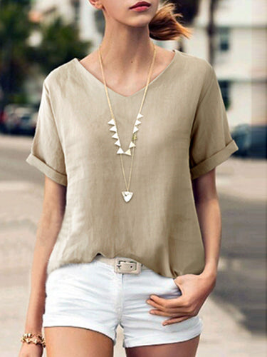 Summer  Linen  Women  V-Neck  Plain  Short Sleeve Blouses
