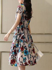 Round Neck  Drawstring Patch Pocket  Floral Printed Skater Dress