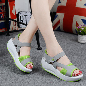2018 Summer Ladies Casual Thick Bottom Wedge Fish Mouth Breathable Sandals
