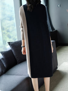 Round Neck  Color Block Shift Dress