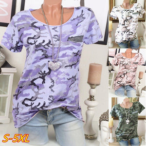 Women Camouflage Pocket Sequins Short Sleeves Casual T-Shirts Plus Size