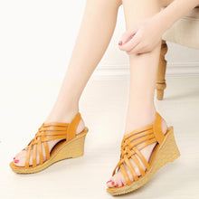 Fish Mouth Wedge Sponge High Heel Platform Thick Bottom Roman Sandals
