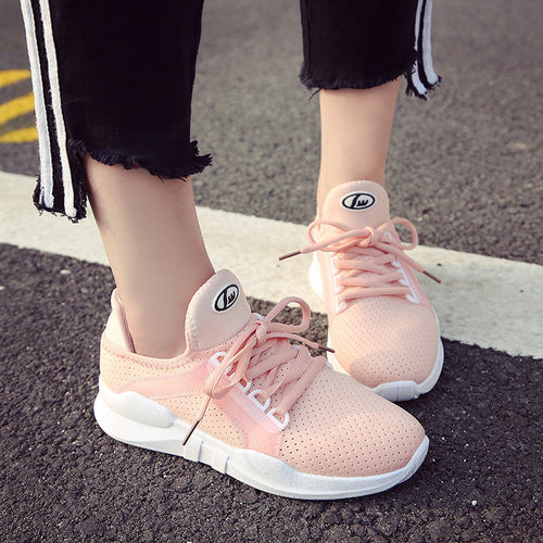 Women Mesh Breathable Running Casual Student White Sneakers