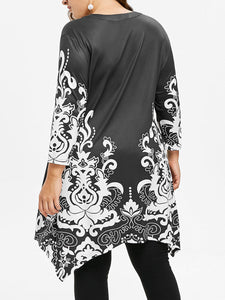 V-Neck  Asymmetric Hem  Abstract Print Plus Size Blouses