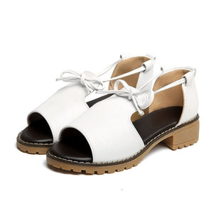 Women Cute Plus Size Bowknot Low Heel Roman Pumps