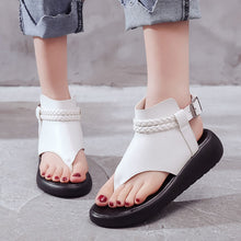 Women Stylish Patchwork Pinch Thick Bottom Wedge Rome Sandals