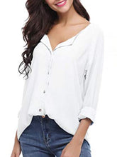 Autumn Spring Summer  Polyester  Women  V-Neck  Asymmetric Hem Single Breasted  Plain  Long Sleeve Blouses