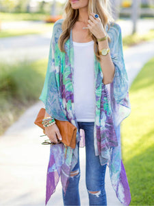 Abstract Print  Long Sleeve Cardigans
