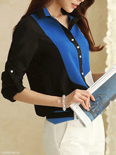 Fold Over Collar  Single Breasted  Patchwork Blouses